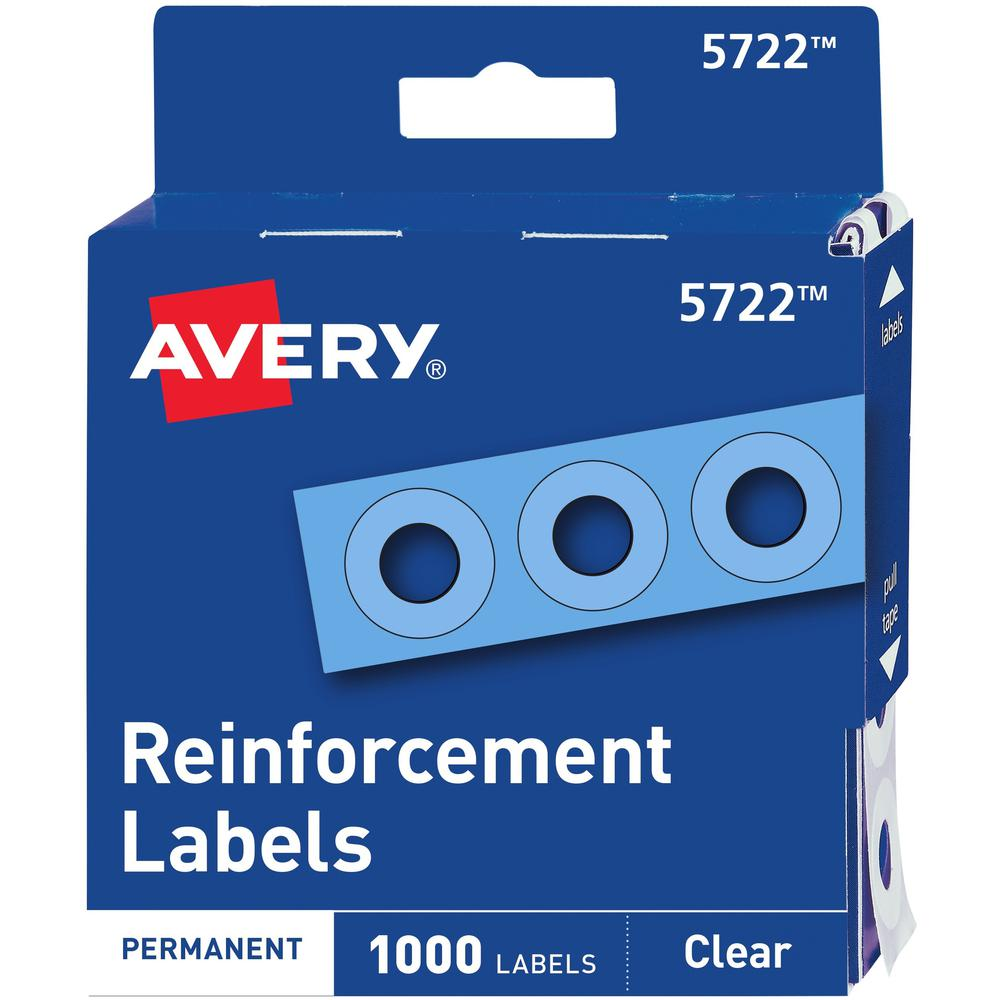 """Avery® Hole Reinforcement Label Rings - 0.3"""" Diameter - 0.25"""" Maximum Capacity - Round - Clear - Polyvinyl - 1000 / Pack. Picture 1"""