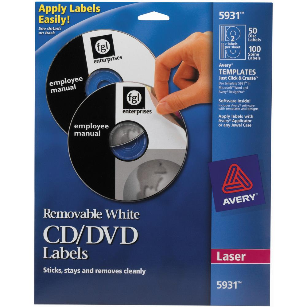 Avery® 5931 Laser Labels Shuttered Jewel Case Inserts with Software for CD/DVD - Laser - 50 / Pack. Picture 1