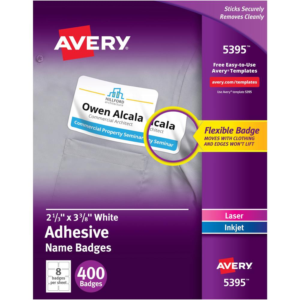 Avery® Adhesive Name Badges - Removable Adhesive - Rectangle - Laser, Inkjet - White - Film - 8 / Sheet - 50 Total Sheets - 400 Total Label(s) - 5. Picture 1