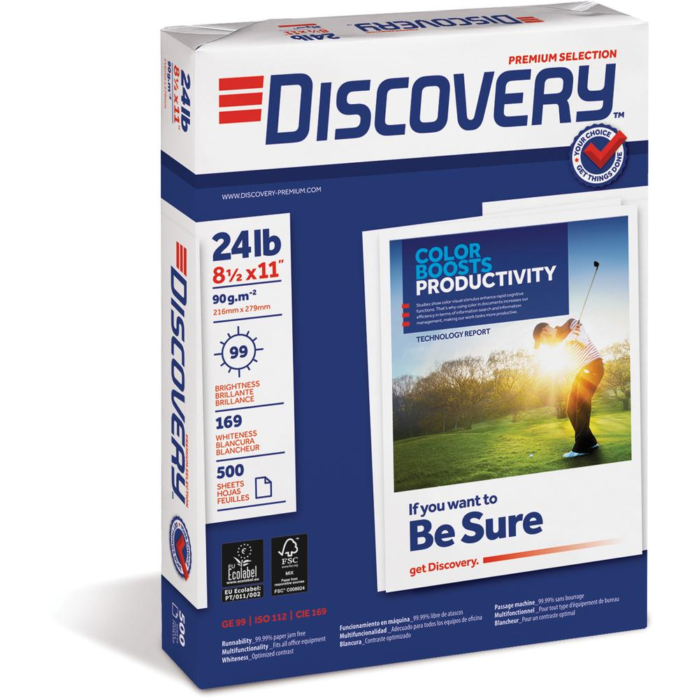 """Discovery Premium Selection Laser, Inkjet Copy & Multipurpose Paper - Letter - 8 1/2"""" x 11"""" - 24 lb Basis Weight - 5000 / Carton - White. Picture 1"""