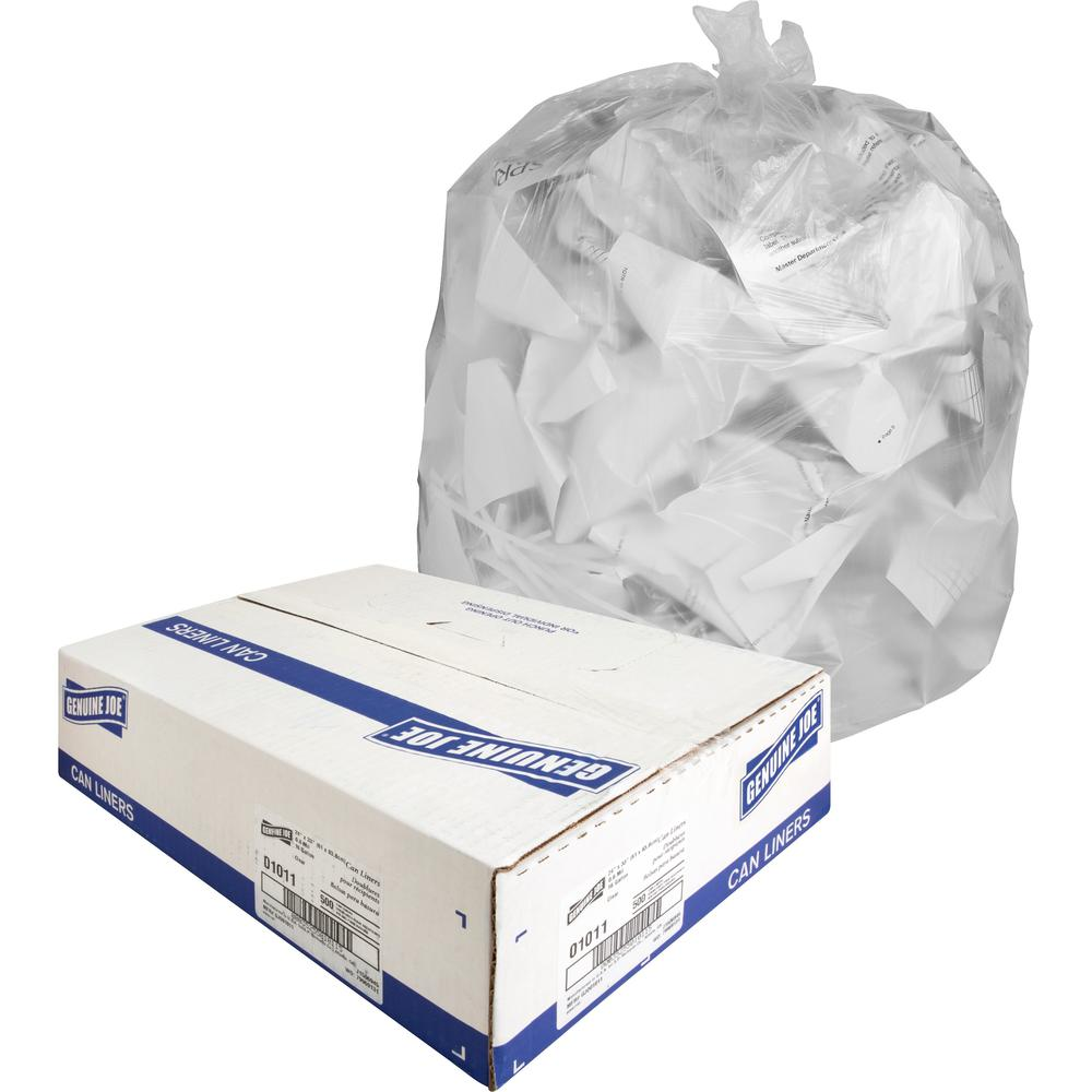 """Genuine Joe Clear Trash Can Liners - Small Size - 16 gal - 24"""" Width x 33"""" Length x 0.60 mil (15 Micron) Thickness - Low Density - Clear - 500/Carton. Picture 1"""