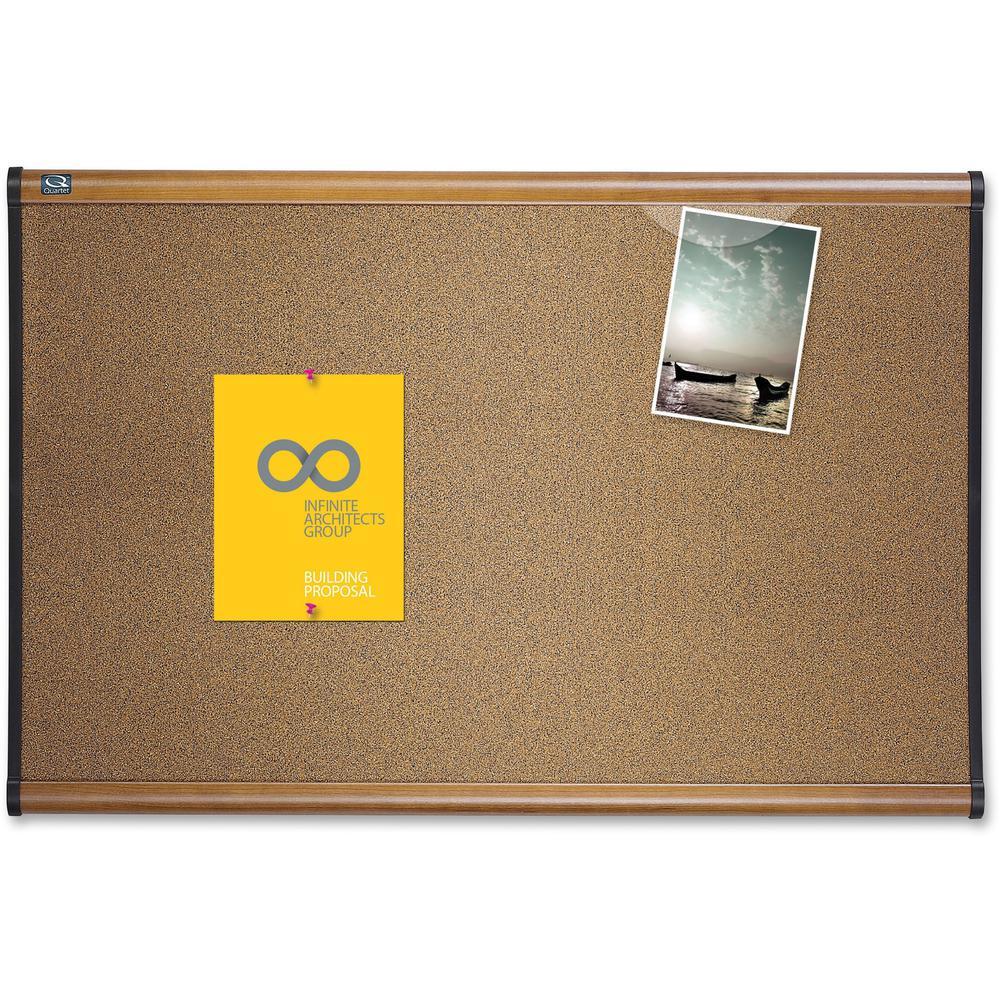 "Quartet Prestige Bulletin Board - 24"" Height x 36"" Width - Brown Cork Surface - Self-healing, Durable - Maple Frame - 1 Each. Picture 1"