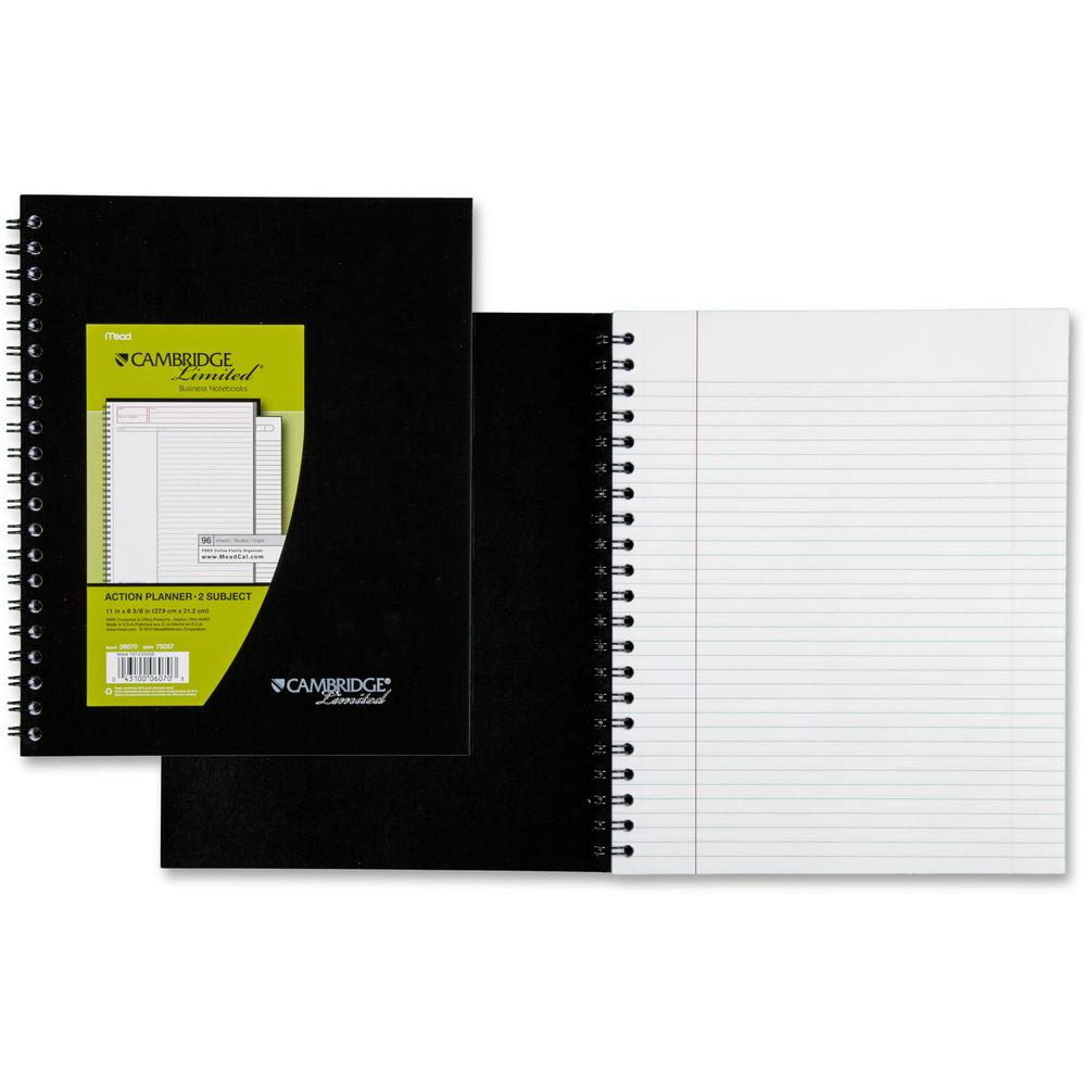 "Mead Wirebound Legal Ruled Business Notebooks - Letter - 96 Sheets - Double Wire Spiral - 20 lb Basis Weight - 8 1/2"" x 11"" - White Paper - Black Cover - Linen Cover - Bond Paper, Bleed-free, Perforat. Picture 1"