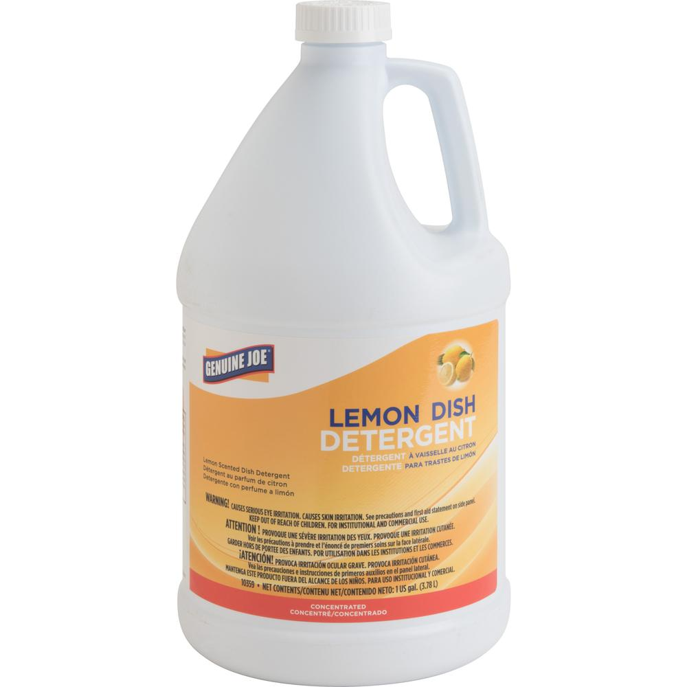 Genuine Joe Lemon Dish Detergent Gallon - Liquid - 128 fl oz (4 quart) - Lemon Scent - 1 Each - White. Picture 1