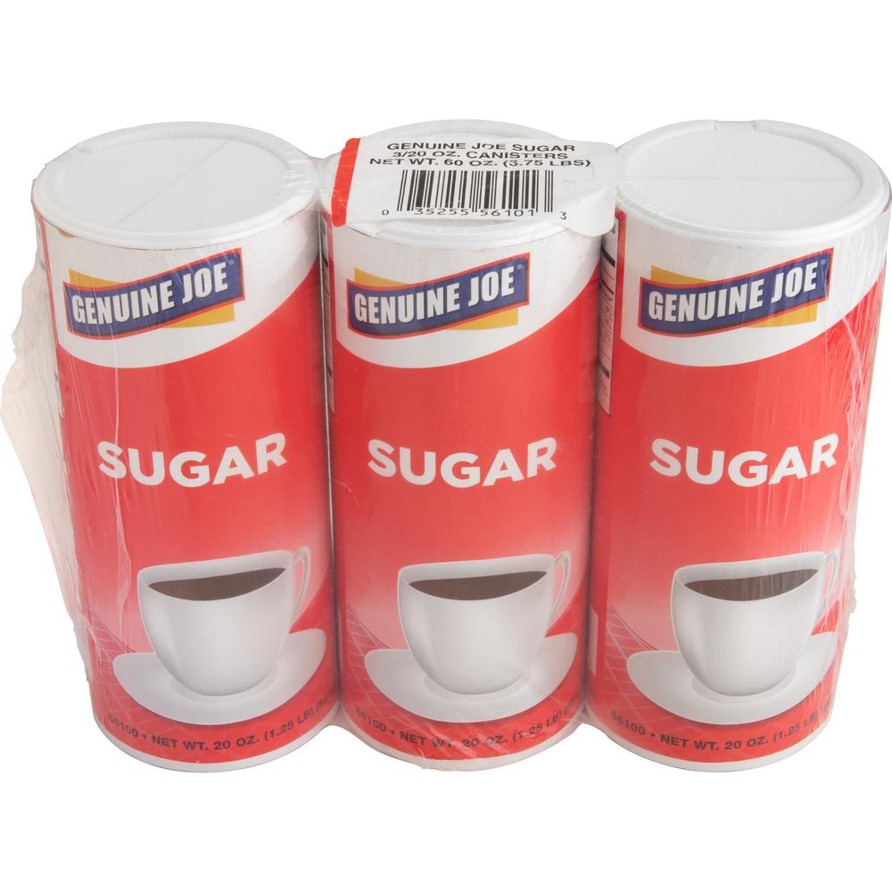 Genuine Joe 20 oz. Sugar Canister - Canister - 1.2 lb (20 oz) - Natural Sweetener - 3/Pack. Picture 1