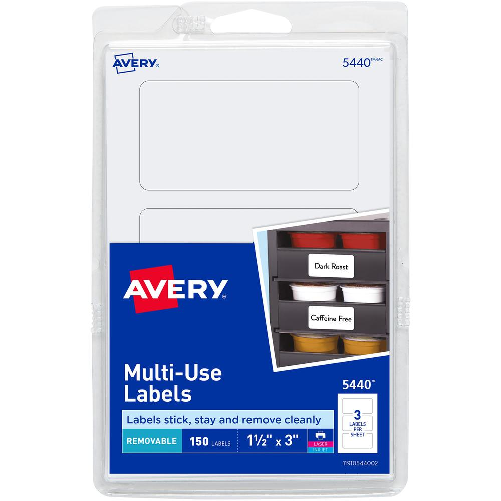 """Avery® Removable Labels, Removable Adhesive, 1-1/2"""" x 3"""" , 150 Labels - 1 1/2"""" Height x 3"""" Width - Rectangle - Laser, Inkjet - White - Paper - 3 / Sheet - 50 Total Sheets - 150 Total Label(s) - 15. Picture 1"""