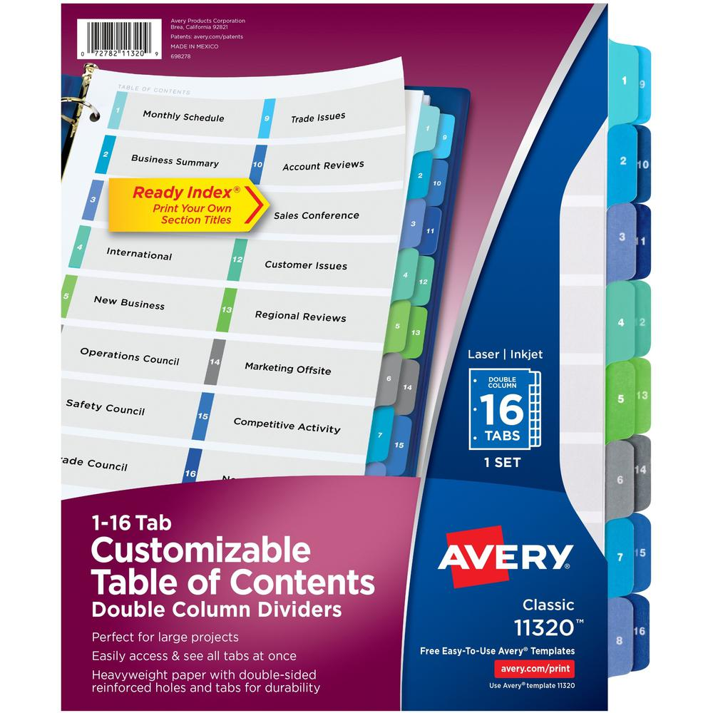 """Avery® Two-Column Table Contents Dividers w/Tabs - 16 x Divider(s) - 1-16, Table of Contents - 16 Tab(s)/Set - 8.5"""" Divider Width x 11"""" Divider Length - 3 Hole Punched - White Paper Divider - Mult. Picture 1"""