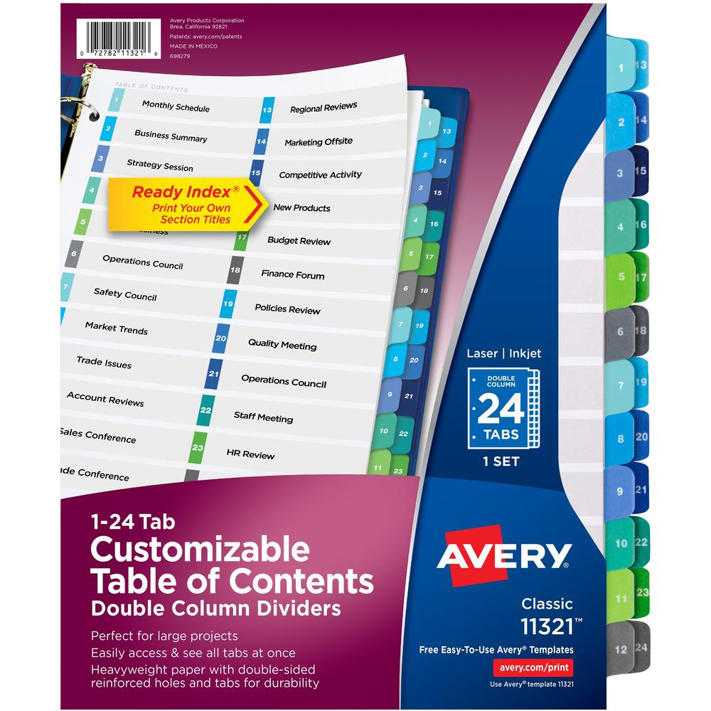 """Avery® Two-Column Table Contents Dividers w/Tabs - 24 x Divider(s) - 1-24, Table of Contents - 24 Tab(s)/Set - 8.5"""" Divider Width x 11"""" Divider Length - 3 Hole Punched - White Paper Divider - Mult. Picture 1"""