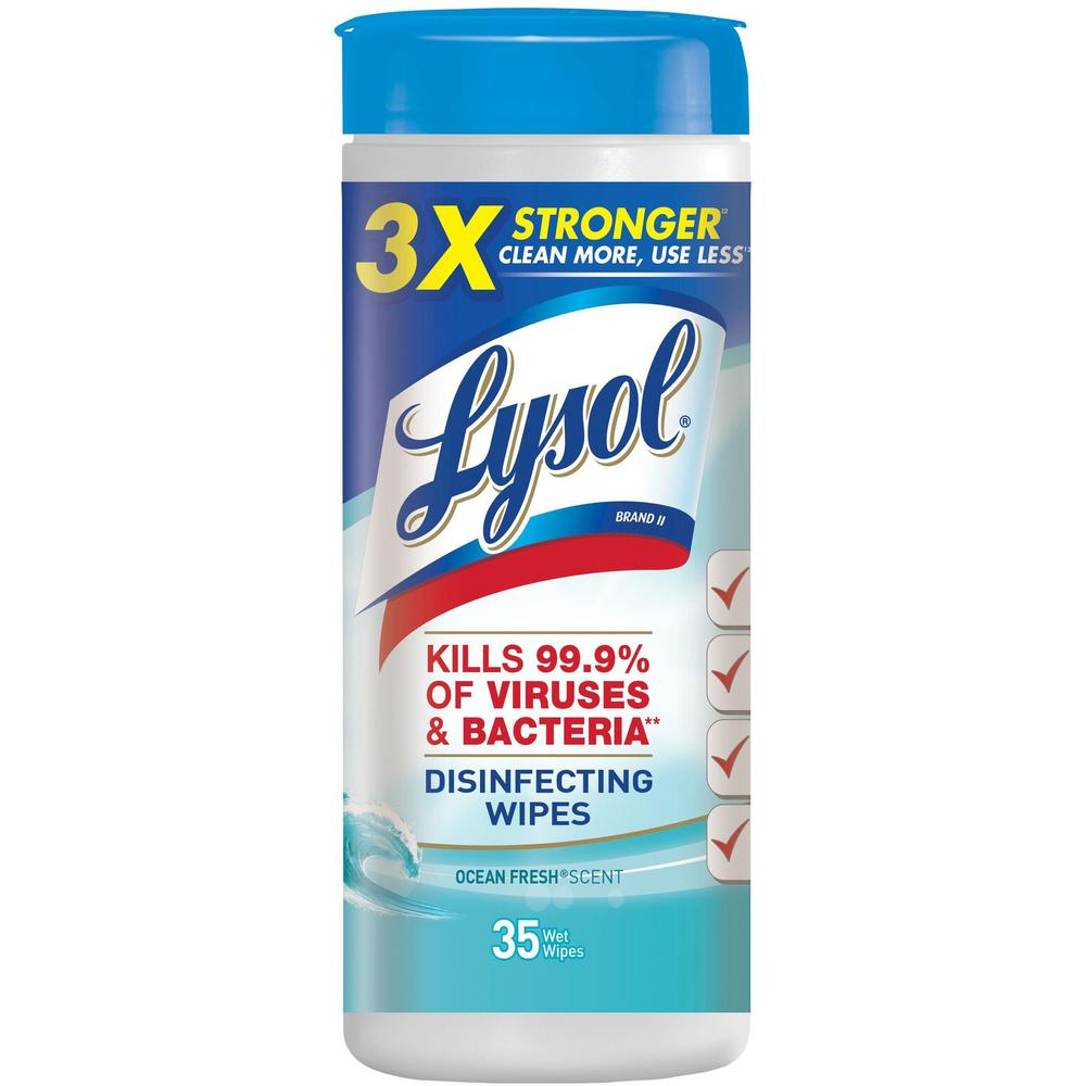 """Lysol Ocean Fresh Disinfecting Wipes - Ocean Fresh - 8"""" x 7"""" - White - Bleach-free, Disinfectant, Anti-bacterial, Pre-moistened - For Healthcare, School - 35 Per Tub - 35 / Each. Picture 1"""