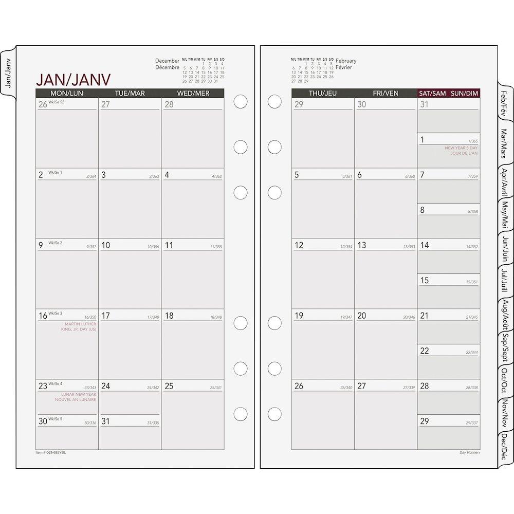 Monthly Calendar Refills : Day runner tabbed monthly calendar refill julian