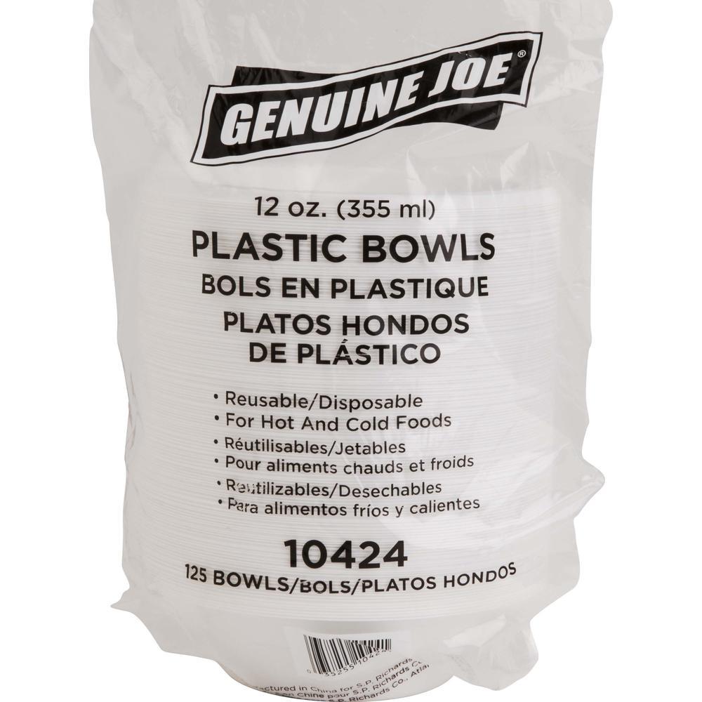 Genuine Joe Reusable Plastic Bowls - Bowl - Plastic Bowl - White - 125 Piece(s) / Pack. Picture 1