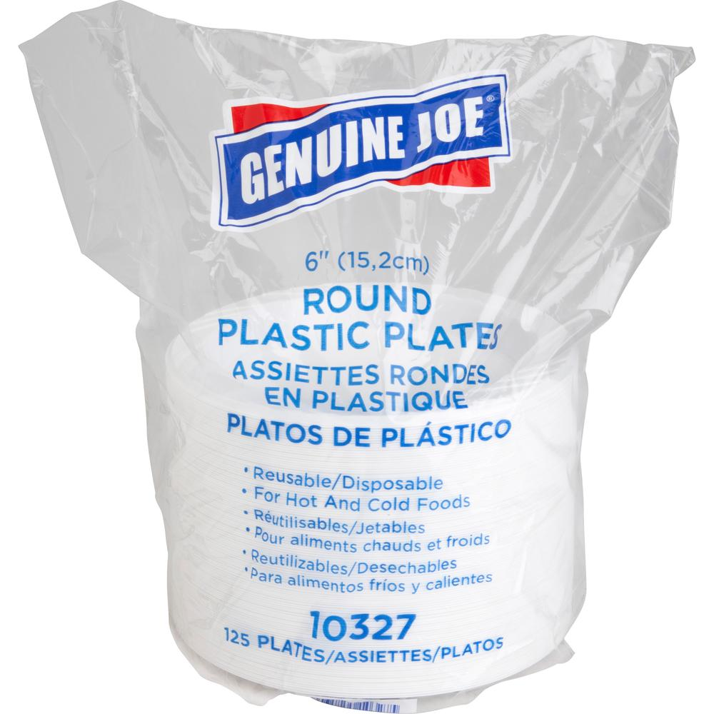 "Genuine Joe Reusable Plastic White Plates - 6"" Diameter Plate - Plastic - White - 125 Piece(s) / Pack. Picture 1"