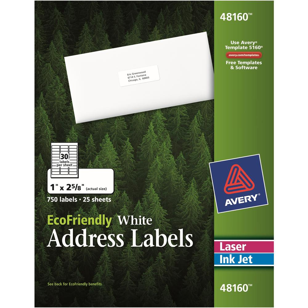 Avery® EcoFriendly Address Labels - Water Based Adhesive - Rectangle - Laser, Inkjet - White - Paper - 30 / Sheet - 25 Total Sheets - 750 Total Label(s) - 750 / Box. Picture 1