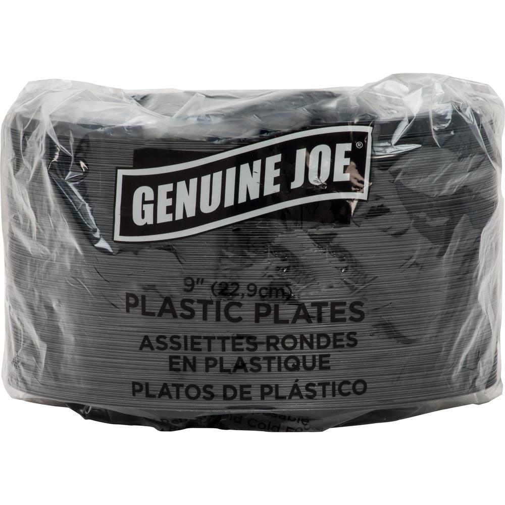 "Genuine Joe Round Plastic Black Plates - 9"" Diameter Plate - Plastic - Black - 125 Piece(s) / Pack. Picture 1"
