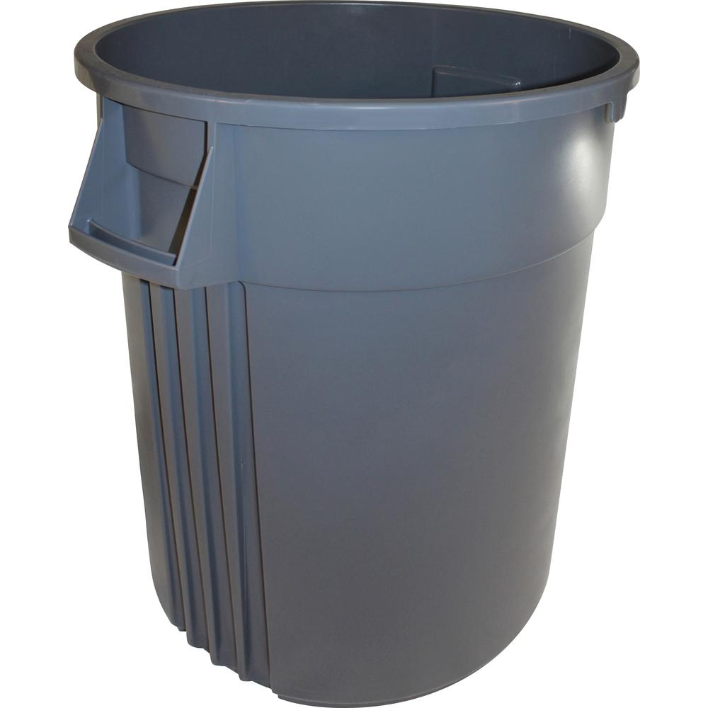 Genuine Joe Heavy-duty Trash Container - 32 gal Capacity - Plastic - Gray. Picture 1