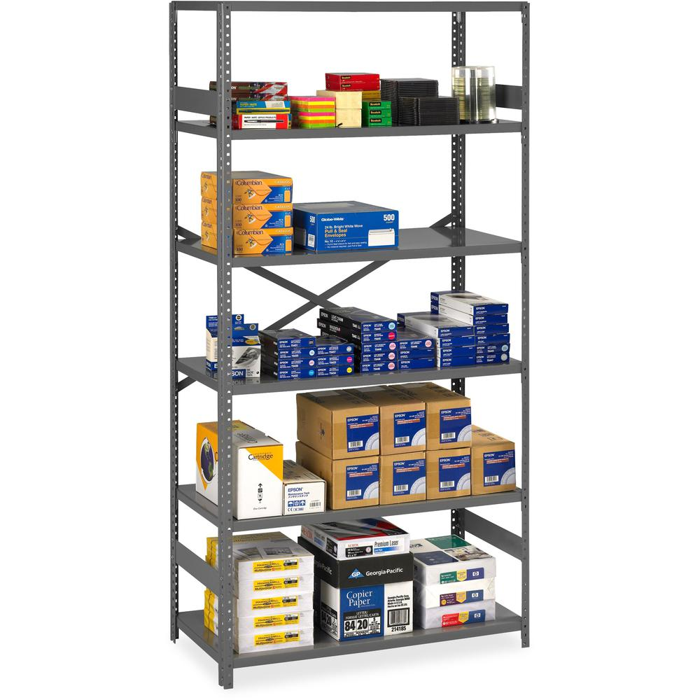 """Tennsco Commercial Shelf - 36"""" x 24"""" x 75"""" - 6 x Shelf(ves) - Medium Gray - Steel - Recycled - Assembly Required. Picture 1"""
