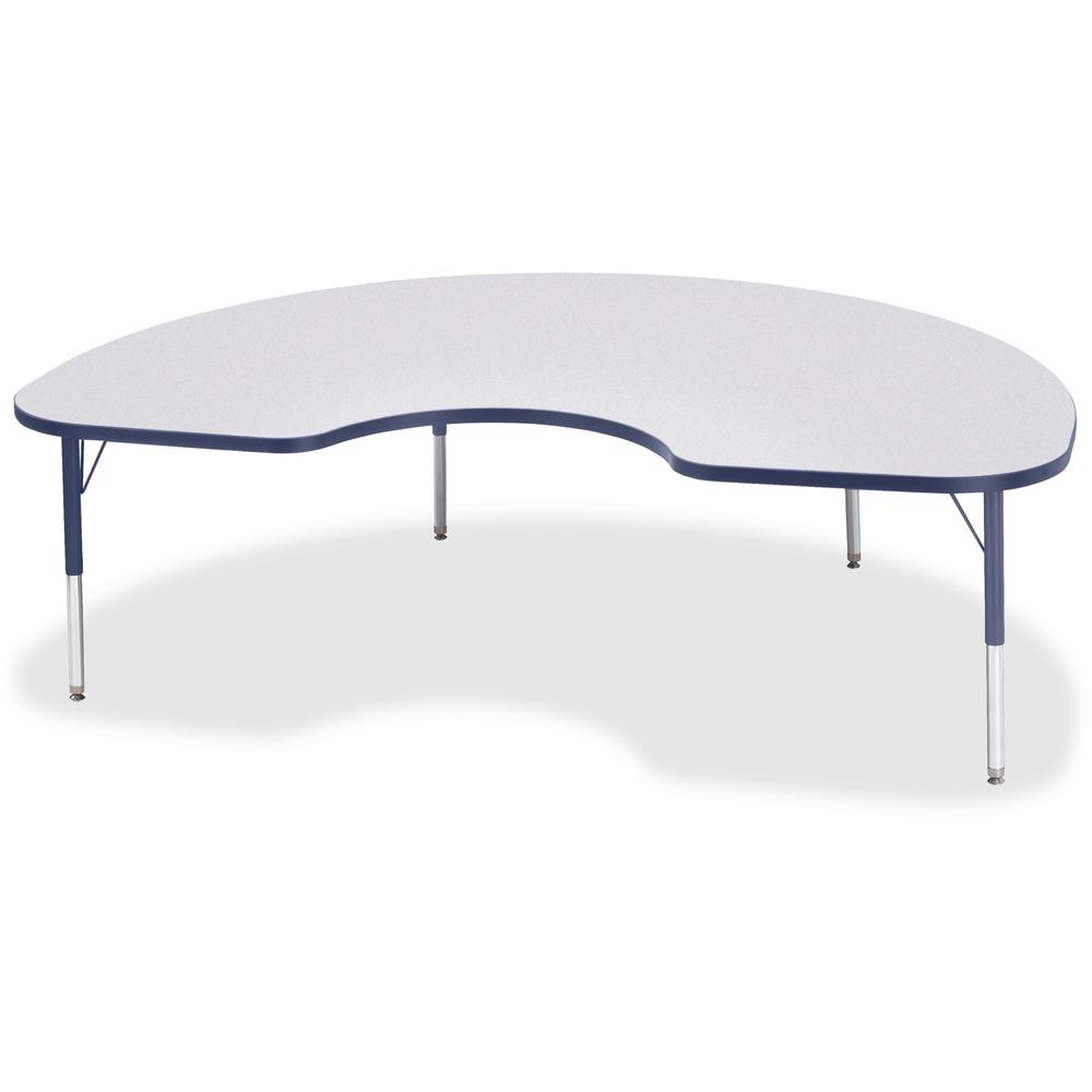 "Berries Toddler Height Color Edge Kidney Table - Laminated Kidney-shaped, Navy Top - Four Leg Base - 4 Legs - 72"" Table Top Length x 48"" Table Top Width x 1.13"" Table Top Thickness - 15"" Height - Asse. Picture 1"