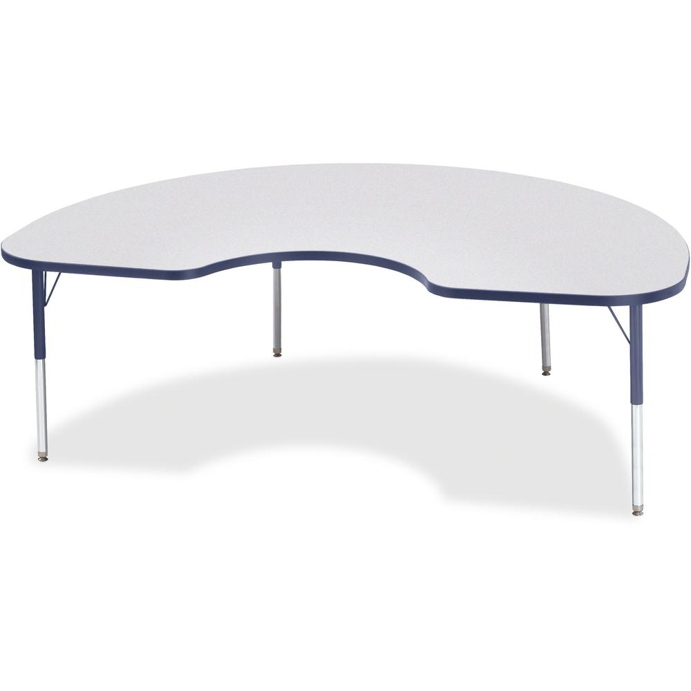 "Berries Elementary Height Color Edge Kidney Table - Laminated Kidney-shaped, Navy Top - Four Leg Base - 4 Legs - 72"" Table Top Length x 48"" Table Top Width x 1.13"" Table Top Thickness - 24"" Height - A. Picture 1"