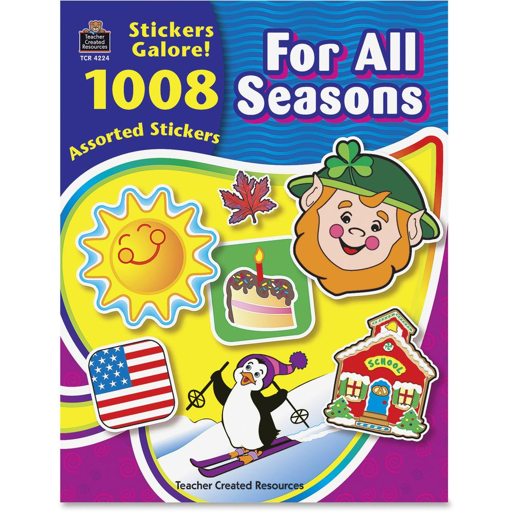 Teacher Created Resources For All Seasons Sticker Book - Self-adhesive - Acid-free, Lignin-free - Assorted - 1008 / Pack. Picture 1