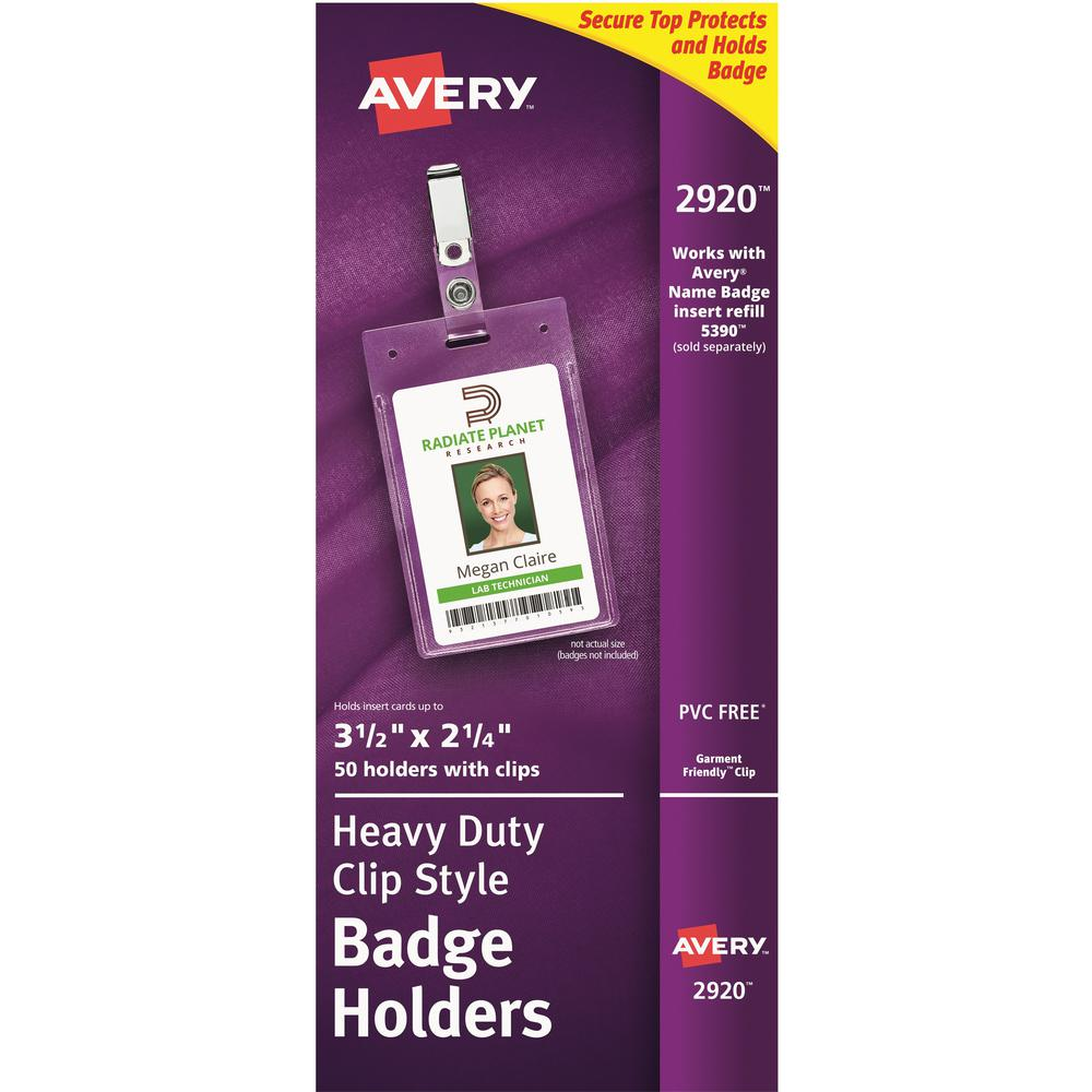 "Avery® Heavy-Duty Secure Top Clip-Style Badge Holders - Support 2.25"" x 3.50"" Media - Portrait - 2.3"" x 3.3"" - Plastic - 50 / Box - Clear. Picture 1"