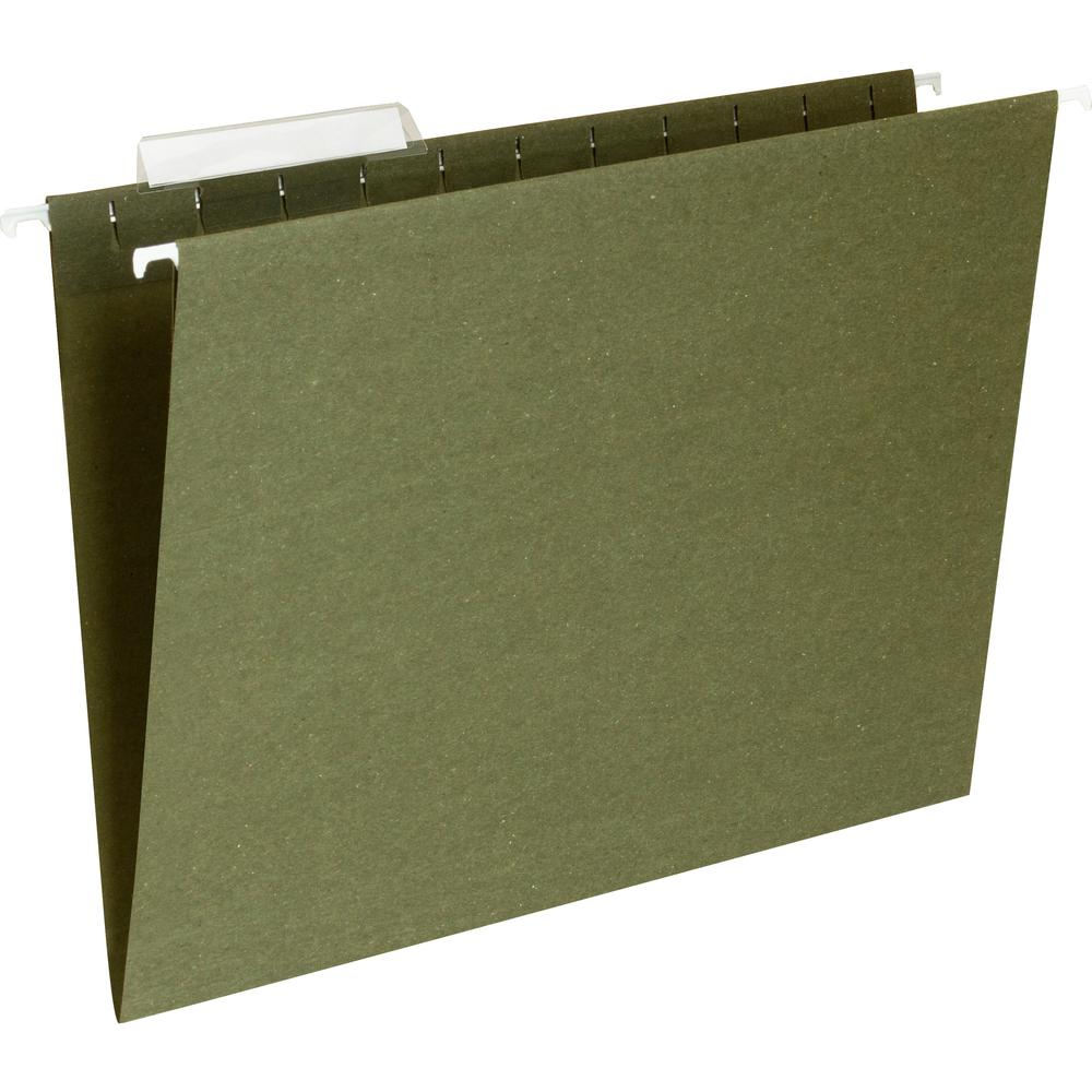 "Business Source 1/3 Cut Standard Hanging File Folders - Letter - 8 1/2"" x 11"" Sheet Size - 1/3 Tab Cut - 11 pt. Folder Thickness - Standard Green - Recycled - 25 / Box. Picture 1"