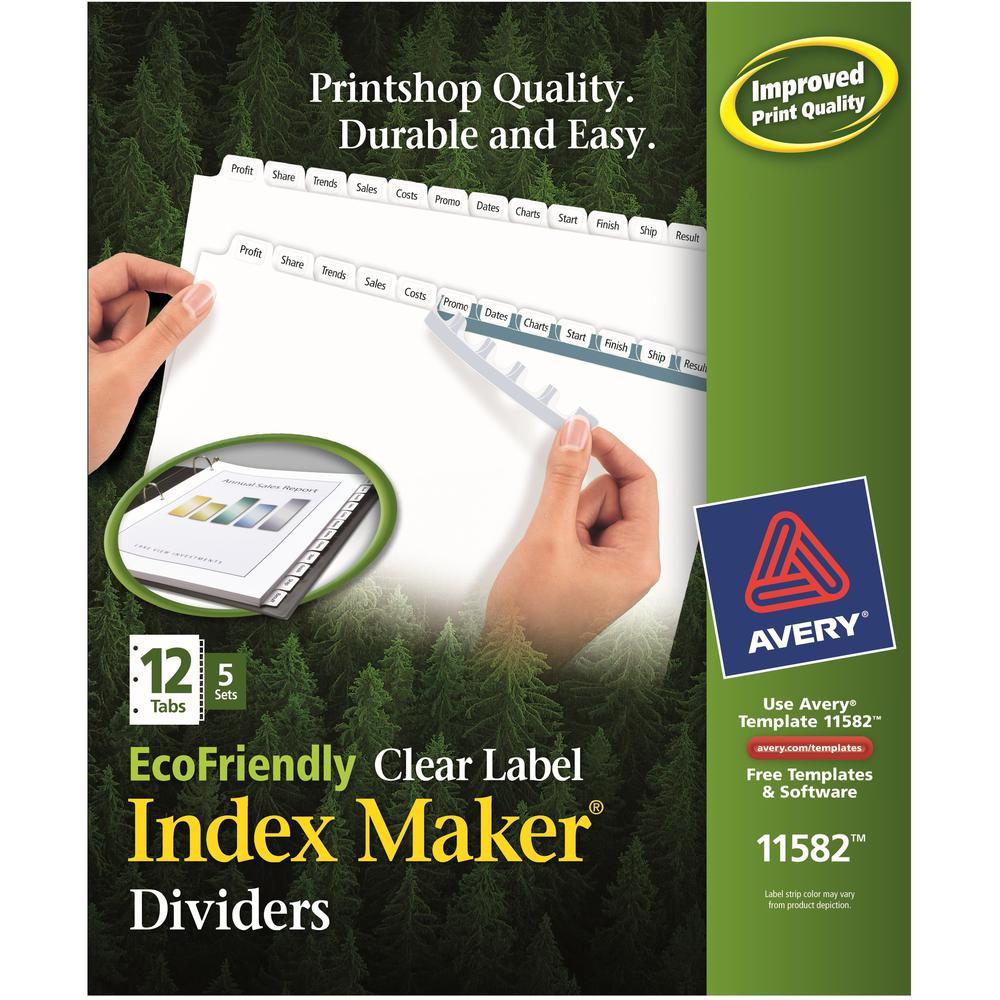 """Avery® Eco-friendly Index Makers Dividers - 60 x Divider(s) - 12 Print-on Tab(s) - 12 - 12 Tab(s)/Set - 8.5"""" Divider Width x 11"""" Divider Length - 3 Hole Punched - White Paper Divider - White Paper. Picture 1"""
