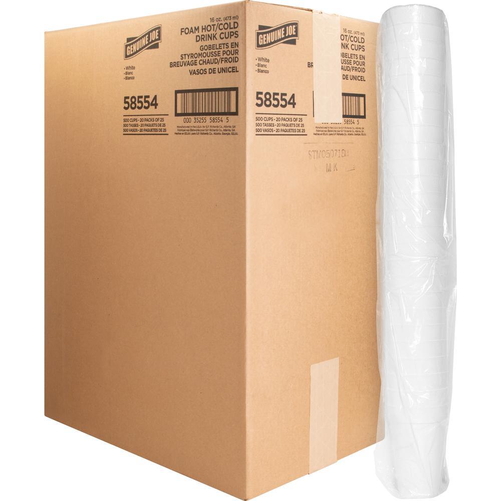 Genuine Joe Hot/Cold Foam Cups - 16 fl oz - 500 / Carton - White - Foam - Hot Drink, Cold Drink. Picture 1
