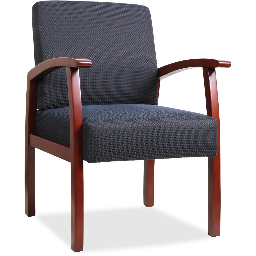 Lorell Deluxe Guest Chair - Cherry Frame - Midnight Blue - 1 Each. Picture 1