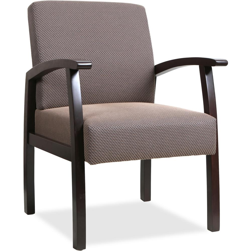 Lorell Deluxe Guest Chair Espresso Frame Taupe 24