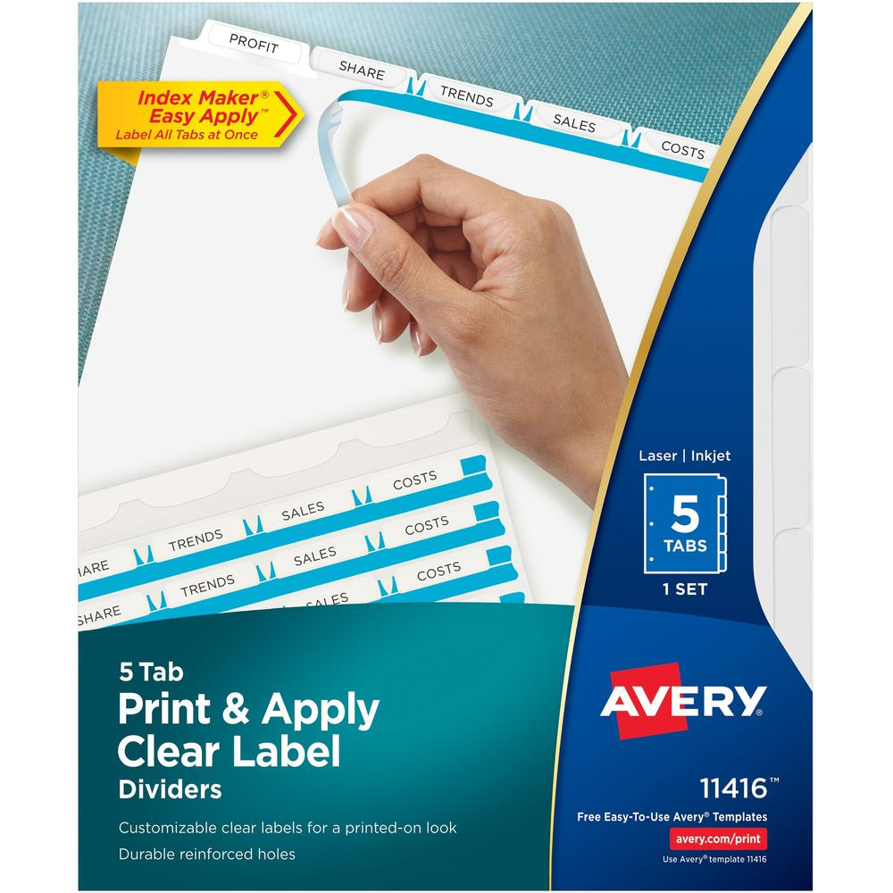 """Avery® Index Maker Index Divider - 5 x Divider(s) - 5 - 5 Tab(s)/Set - 8.5"""" Divider Width x 11"""" Divider Length - 3 Hole Punched - White Paper Divider - White Paper Tab(s) - 5 / Set. Picture 1"""