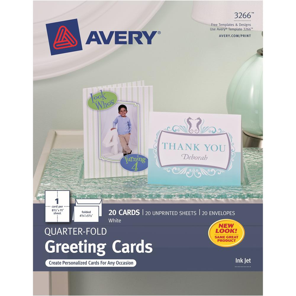 """Avery® Inkjet Greeting Card - 4 1/4"""" x 5 1/2"""" - Matte - 20 / Pack - White. Picture 1"""