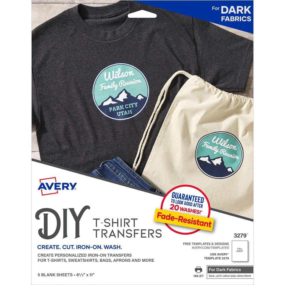 """Avery® Inkjet Iron-on Transfer Paper - Letter - 8 1/2"""" x 11"""" - Matte - 5 / Pack. Picture 1"""