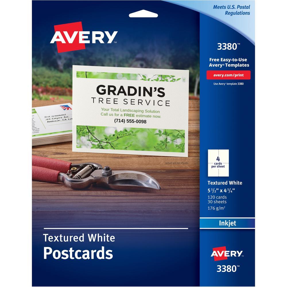 "Avery® Inkjet Postcard - 4 1/4"" x 5 1/2"" - Textured Matte - 120 / Box - White. Picture 1"