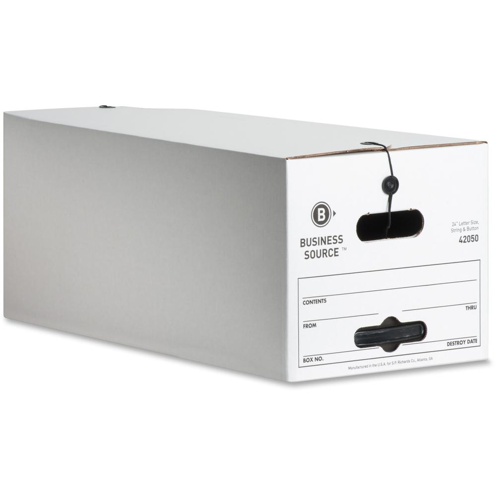"Business Source Light Duty Letter Size Storage Box - External Dimensions: 12"" Width x 24"" Depth x 10""Height - 350 lb - Media Size Supported: Letter - Light Duty - Stackable - White - For File - Recycl. Picture 1"