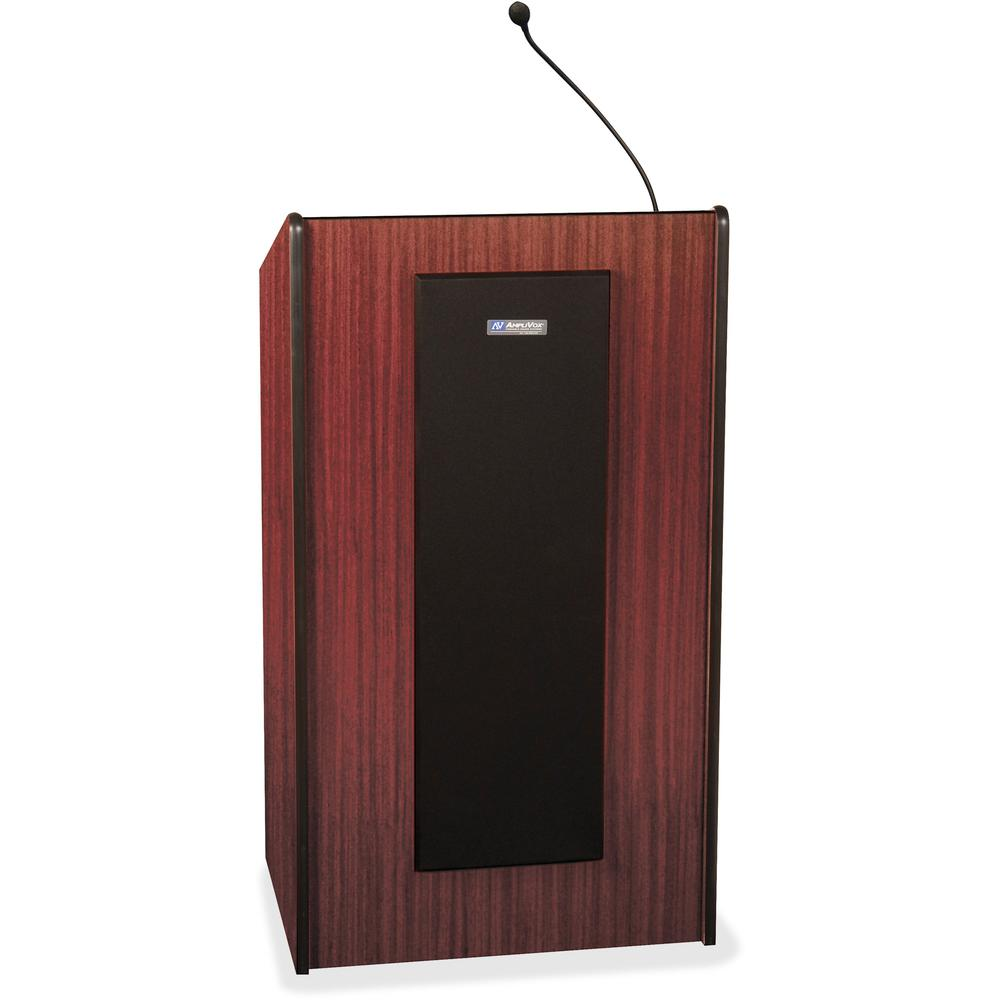 "AmpliVox S450 - Presidential Plus Lectern - Rectangle Top - Sculpted Base - 25.50"" Table Top Width x 20.50"" Table Top Depth - 46.50"" Height - Assembly Required - Laminated, Mahogany, Wood. The main picture."
