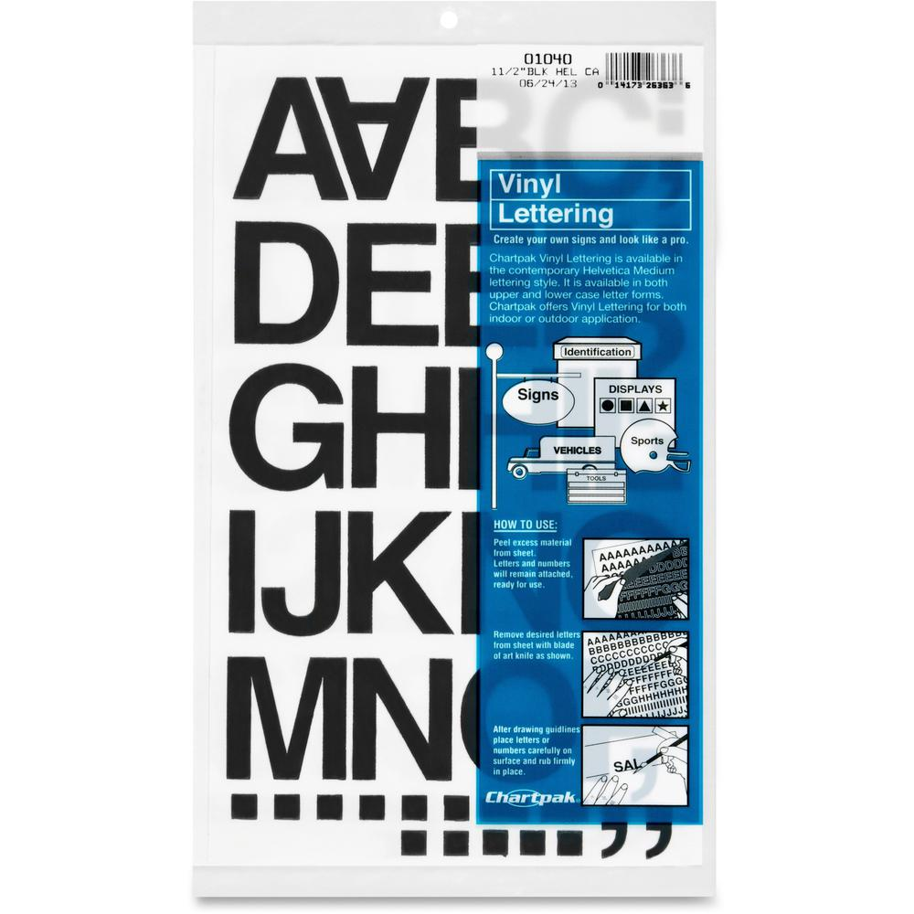"""Chartpak Vinyl Helvetica Style Letters/Numbers - 10, 35 (Numbers, Capital Letter, Symbols) Shape - Self-adhesive - Helvetica Style - 1.50"""" Height x 12"""" Length - Black - Vinyl - 1 / Pack. Picture 1"""