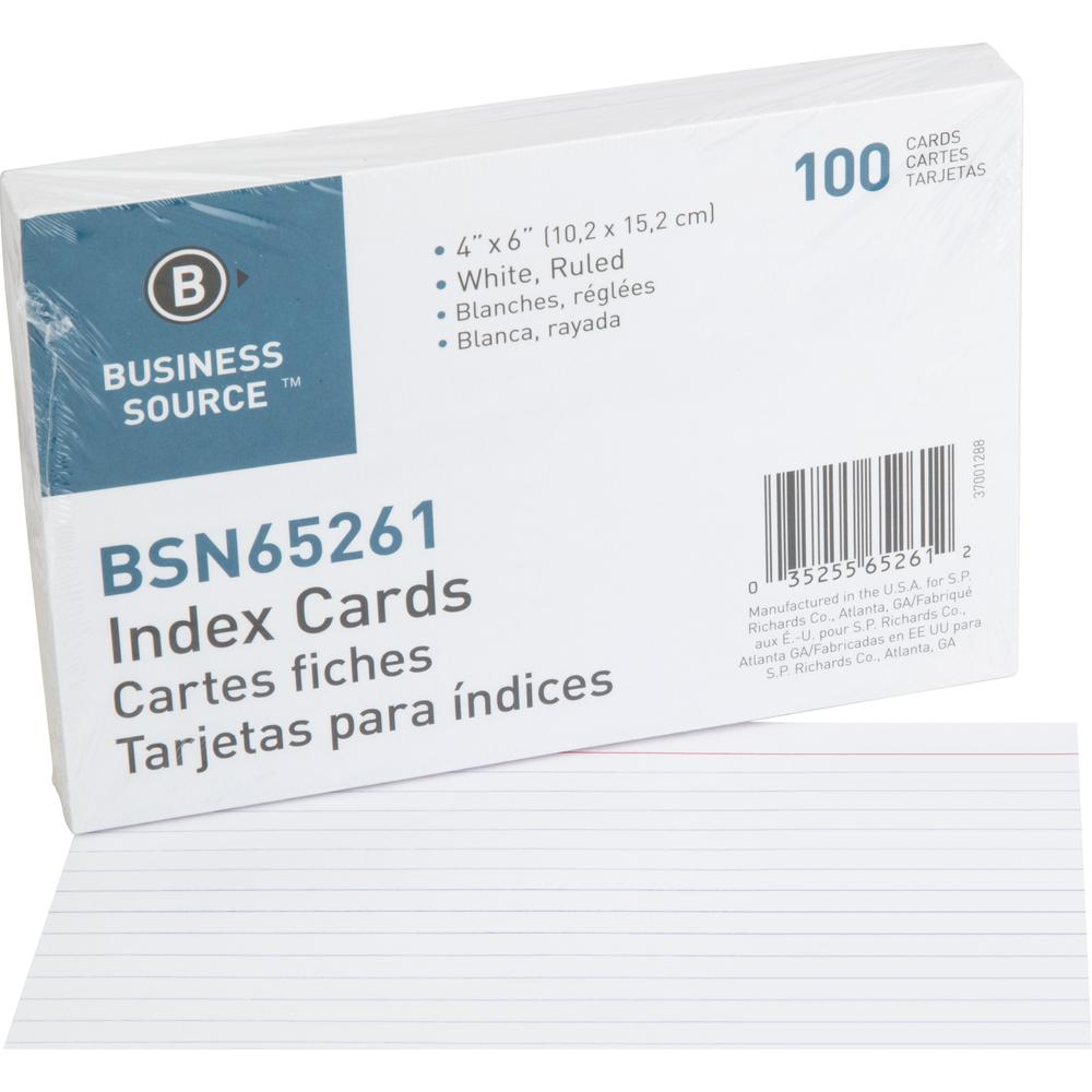 """Business Source Ruled White Index Cards - 6"""" Width x 4"""" Length - 100 / Pack. Picture 1"""