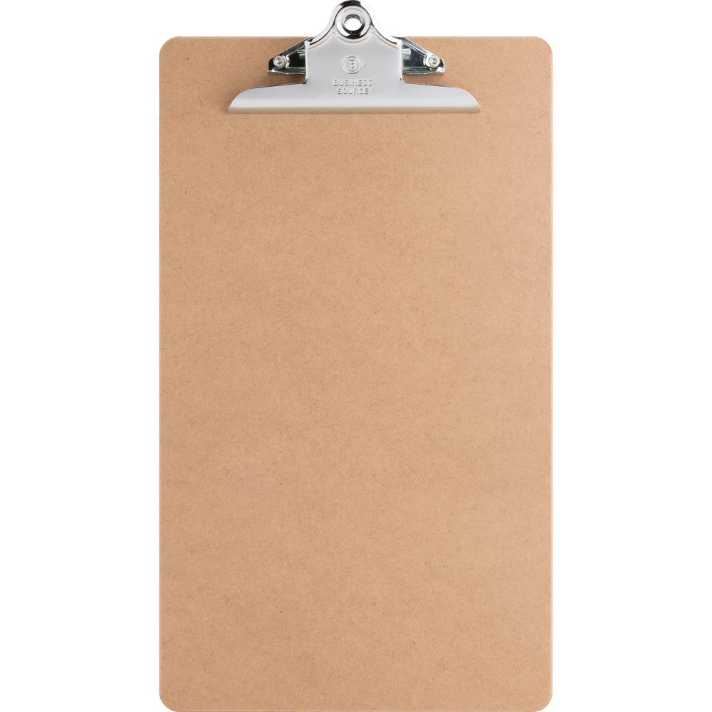 "Business Source Hardboard Clipboard - 9"" x 15 1/2"" - Hardboard - Brown - 1 Each. Picture 1"