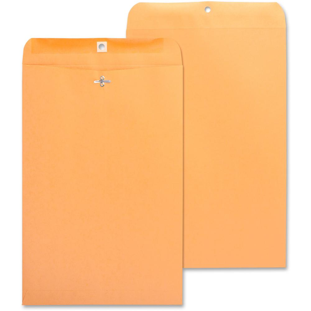 "Business Source Heavy-duty Clasp Envelopes - Clasp - #98 - 10"" Width x 15"" Length - 28 lb - Clasp - Kraft - 100 / Box - Kraft. The main picture."