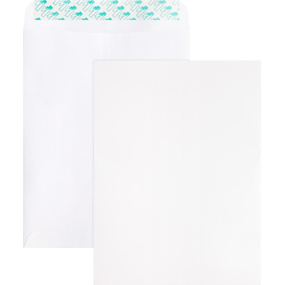 "Business Source Self Sealing Catalog Envelope - Catalog - 9"" Width x 12"" Length - 28 lb - Peel & Seal - Wove - 100 / Box - White. Picture 1"