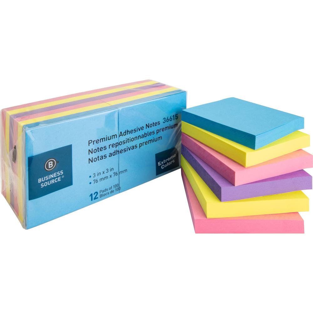 """Business Source 3x3 Extreme Colors Adhesive Notes - 100 - 3"""" x 3"""" - Square - Assorted - Repositionable, Solvent-free Adhesive - 12 / Pack. Picture 1"""