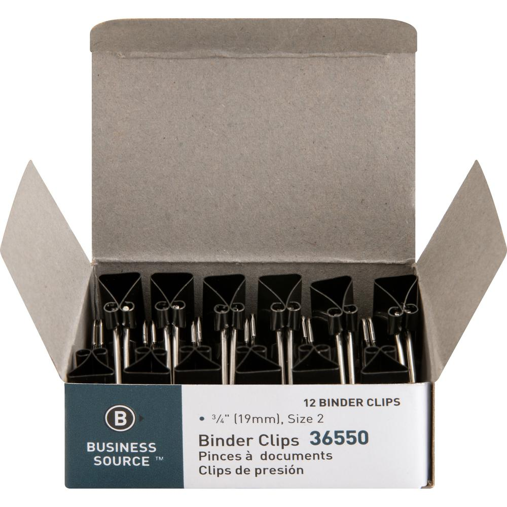 """Business Source Fold-back Binder Clips - Small - 0.8"""" Width - 0.38"""" Size Capacity - 12 / Dozen - Black - Steel. Picture 1"""