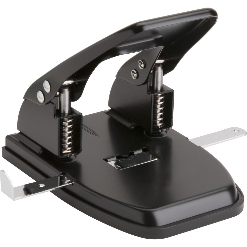 """Business Source Heavy-duty 2-Hole Punch - 2 Punch Head(s) - 30 Sheet Capacity - 9/32"""" Punch Size - Round Shape - Black. Picture 1"""