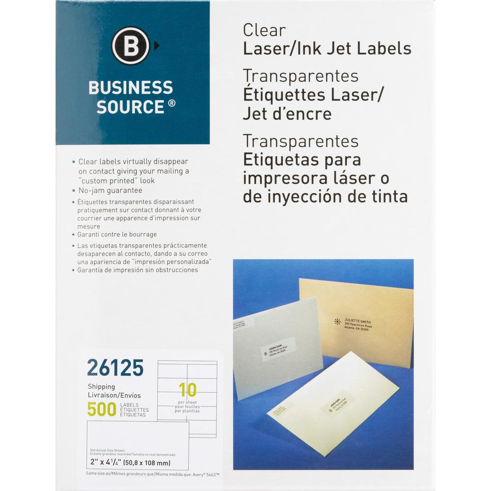 """Business Source Clear Shipping Labels - Permanent Adhesive - 2"""" x 4.25"""" Length - Rectangle - Laser - Clear - 10 / Sheet - 500 / Pack. Picture 1"""