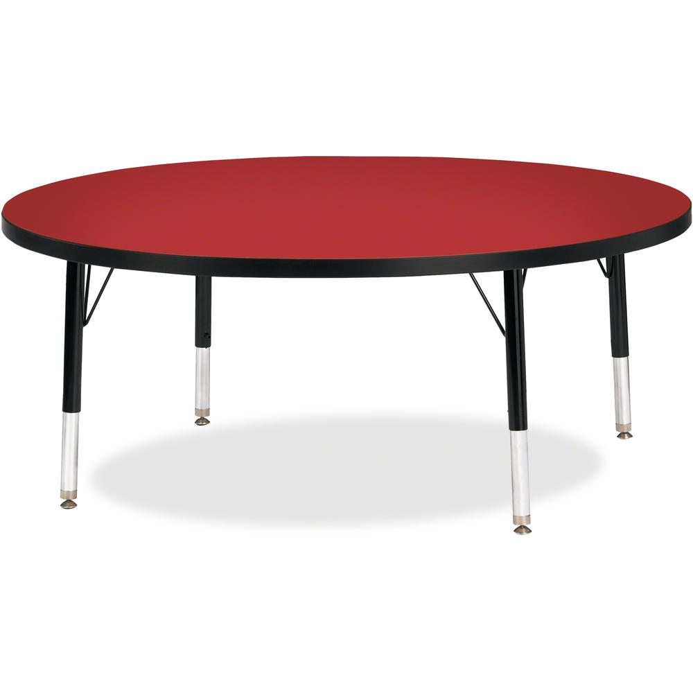 "Jonti-Craft Berries Toddler Height Color Top Round Table - Laminated Round, Red Top - Four Leg Base - 4 Legs - 1.13"" Table Top Thickness x 48"" Table Top Diameter - 15"" Height - Assembly Required - Pow. Picture 1"