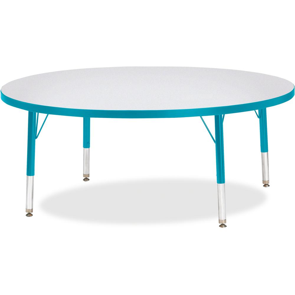 """Berries Toddler Height Color Edge Round Table - Laminated Round, Teal Top - Four Leg Base - 4 Legs - 1.13"""" Table Top Thickness x 48"""" Table Top Diameter - 15"""" Height - Assembly Required - Powder Coated. Picture 1"""