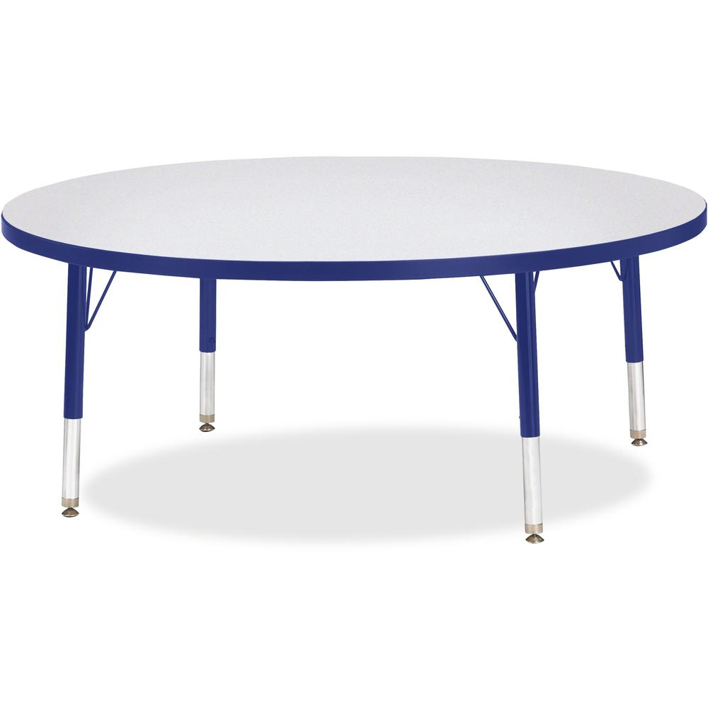 """Berries Toddler Height Color Edge Round Table - Blue Round, Laminated Top - Four Leg Base - 4 Legs - 1.13"""" Table Top Thickness x 48"""" Table Top Diameter - 15"""" Height - Assembly Required - Powder Coated. Picture 1"""