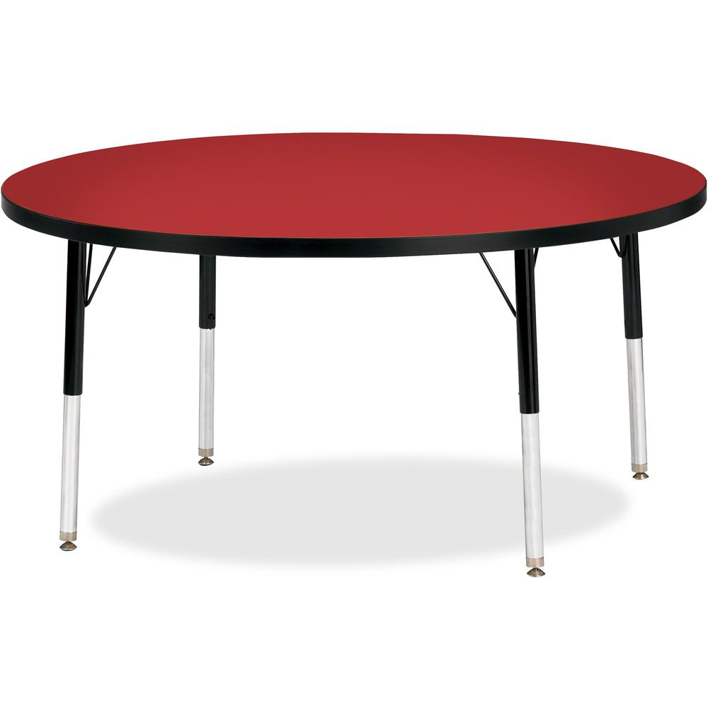"Berries Elementary Height Color Top Round Table - Laminated Round, Red Top - Four Leg Base - 4 Legs - 1.13"" Table Top Thickness x 48"" Table Top Diameter - 24"" Height - Assembly Required - Powder Coate. Picture 1"