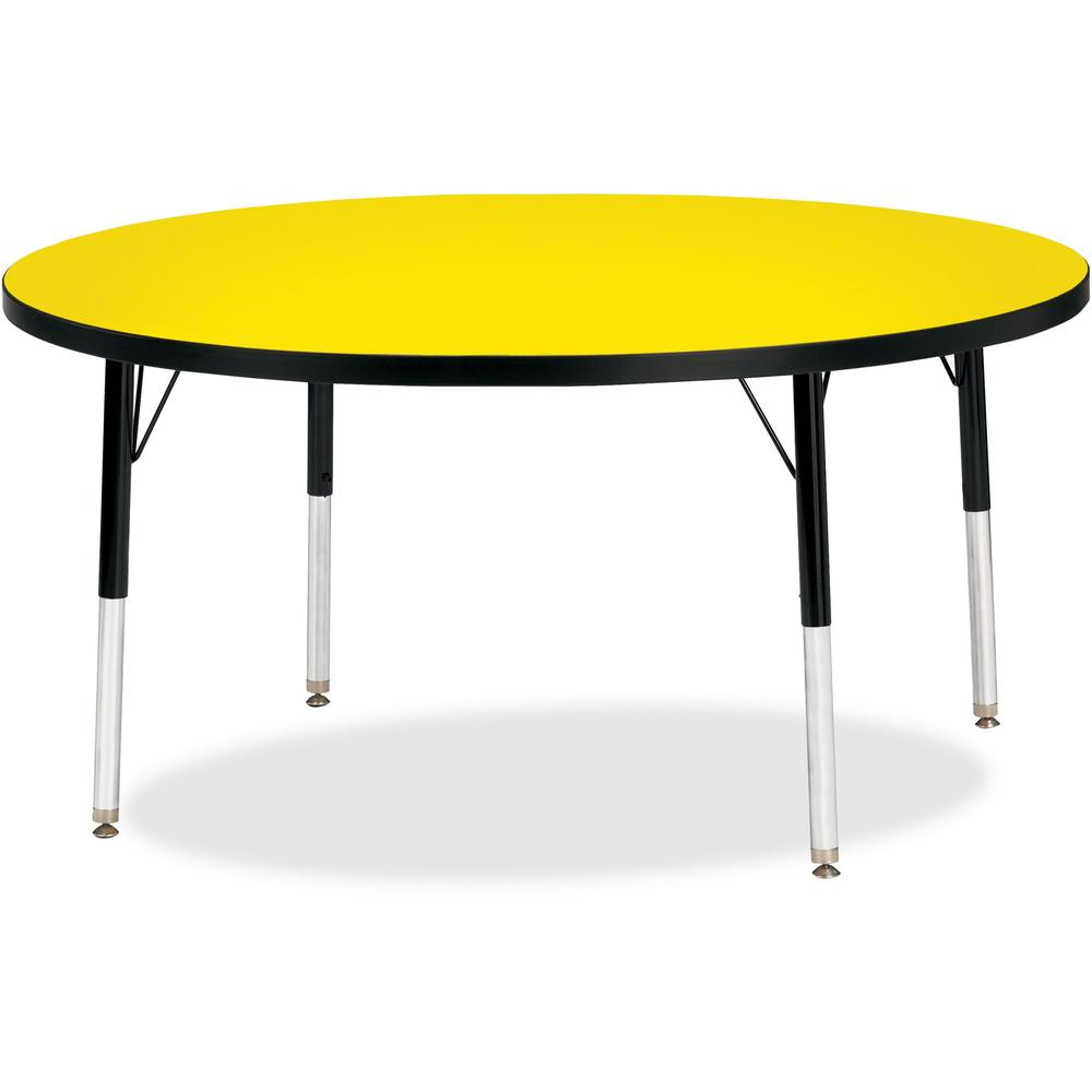 """Berries Elementary Height Color Top Round Table - Laminated Round, Yellow Top - Four Leg Base - 4 Legs - 1.13"""" Table Top Thickness x 48"""" Table Top Diameter - 24"""" Height - Assembly Required - Powder Co. Picture 1"""
