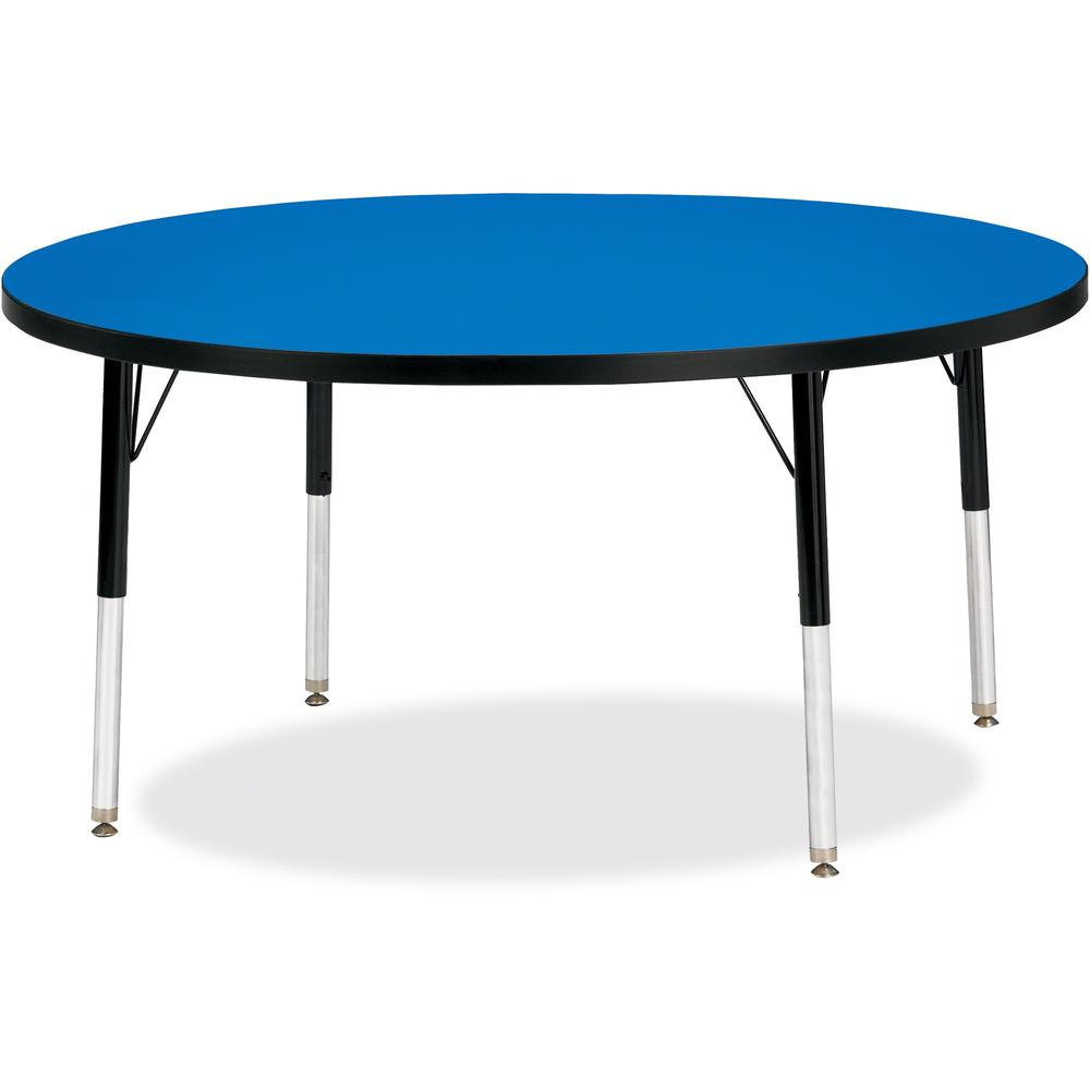 """Jonti-Craft Berries Elementary Height Color Top Round Table - Blue Round, Laminated Top - Four Leg Base - 4 Legs - 1.13"""" Table Top Thickness x 48"""" Table Top Diameter - 24"""" Height - Assembly Required -. Picture 1"""